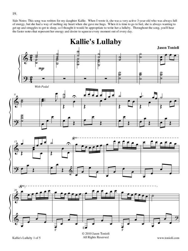 Kallies Lullaby Page 1