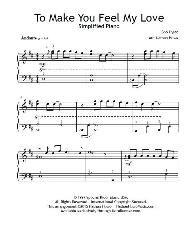 To Make You Feel My Love by Bob Dylan, Arranged for simplified piano by Nathan Howe
