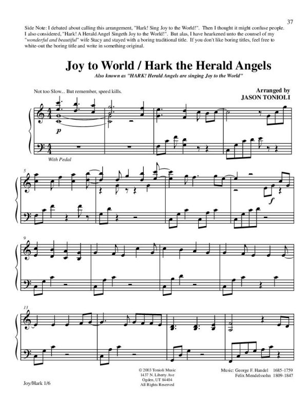 Joy to the world - hark the herald angels page1