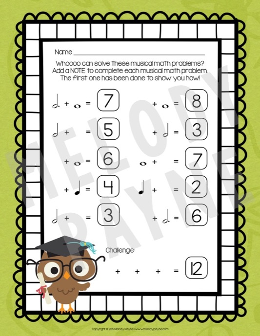 math worksheet : musical math is a hoot! 10 cross curricular music math worksheets  : Music Math Worksheets